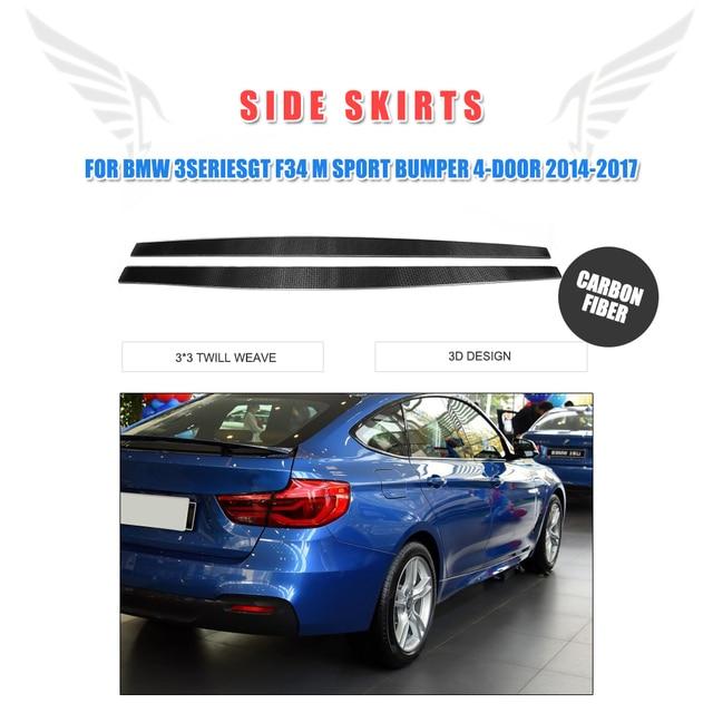 2PCS/Set Carbon Fiber Auto Side Under Skirts Aprons for BMW 3 Series GT F34 M Sport Bumper 4-Door 2014-2017