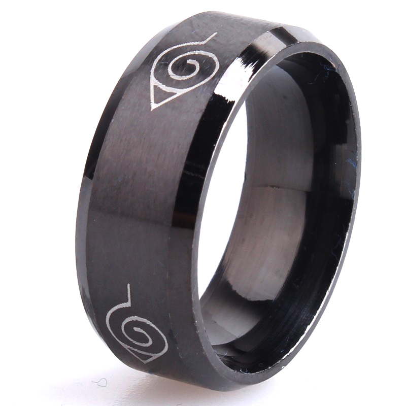 free shipping 8mm brushed Naruto Konoha sign 316L Stainless Steel finger rings for men women wholesale