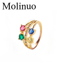 Molinuo Hot Sale Ladys Round Stone Multi Colored Sapphires Gold Rainbow Ring Fashion Jewelry 2019