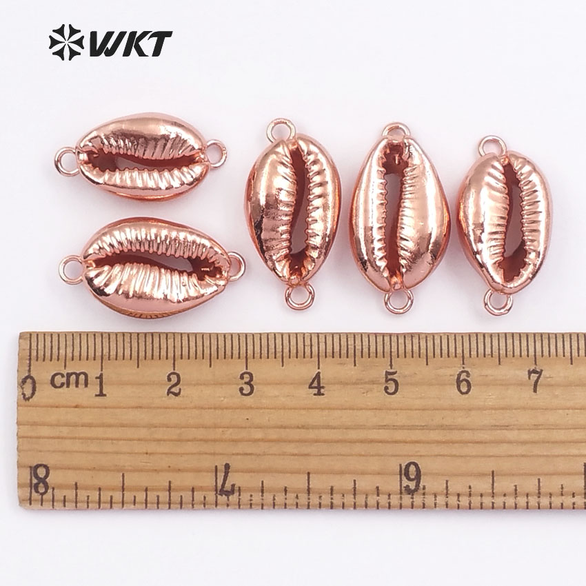 WT JP051 WKT Fashion jewelry natural cowrie shell with rose gold full plated double hook connector for women making in Pendants from Jewelry Accessories