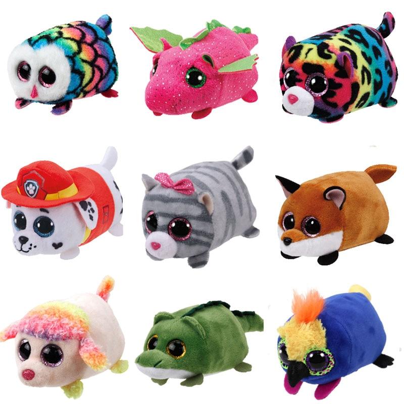 Teeny Tys Plush Toy Tsum Tsum Reagal Lion Cassie Cat Kimi Siamese Pocket Penguin Ferris Giraffe Mabs Kids Toy Hootie Owl Dog