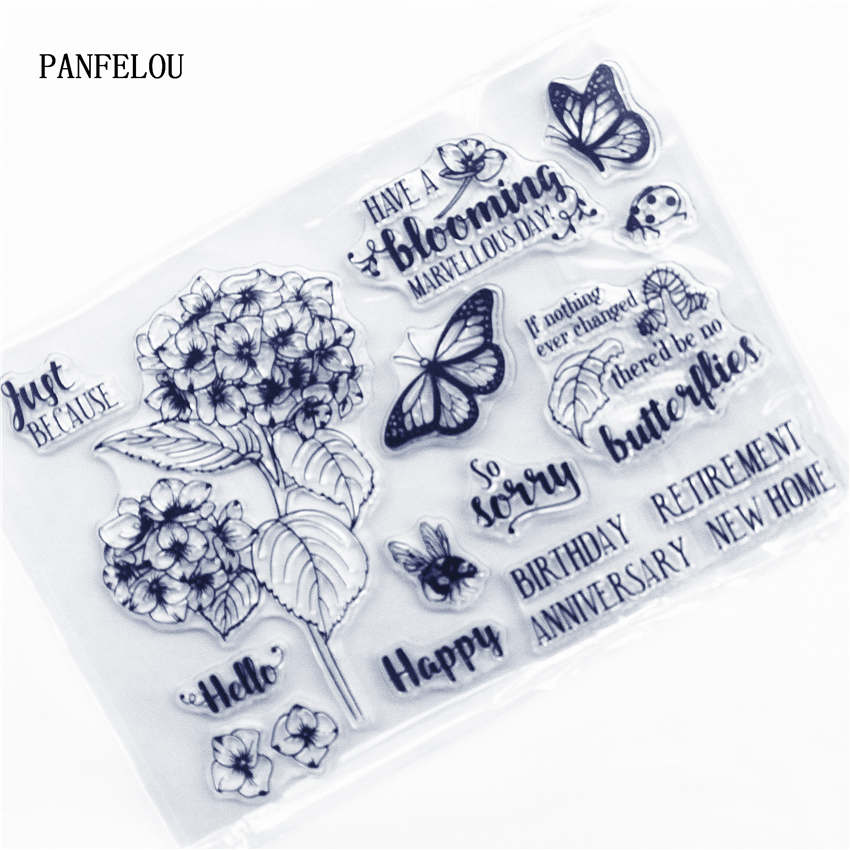 Happy Birthday Retirement Anniversary New Home Flowers Butterflies Clear Stamps for Card Making Decoration and DIY Scrapbooking Tools