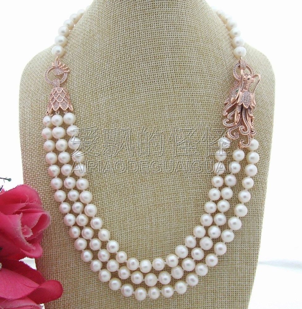 N042909 21 3Strands White Pearl Necklace CZ ConnectorN042909 21 3Strands White Pearl Necklace CZ Connector