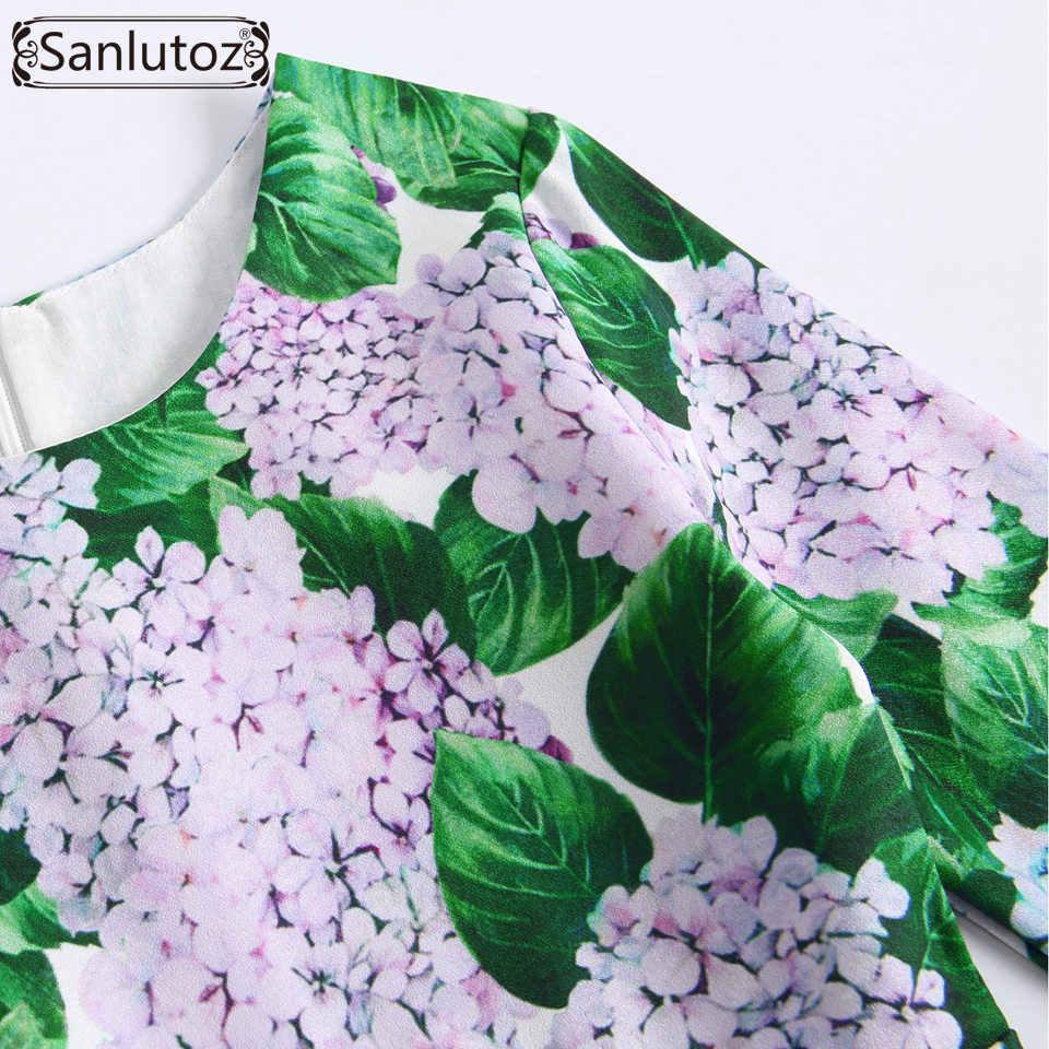 Sanlutoz/платье с цветочным узором для девочек одежда с длинными рукавами для девочек свадебная детская одежда принцессы зимняя брендовая 2017 для вечеринки, дня рождения