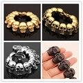 "8.66"" *26mm Heavy Men Bracelet New 316L Stainless Steel Skulls heads Gothic Punk Men Bracelet For Boyfriend Jewelry Xmas Gift"