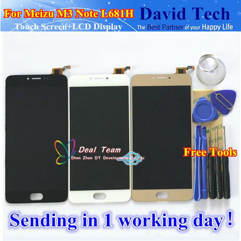 Prix pour Haute qualité remplacement écran tactile digitizer + écran lcd pour meizu m3 note l681h téléphone portable noir/blanc/or livraison gratuite