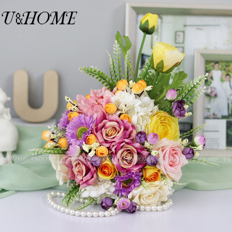 U&Home Artificial DIY <font><b>flower</b></font> silk rose bud purple daisy bride bouquet hydrangea for home wedding decoration bulk high quality