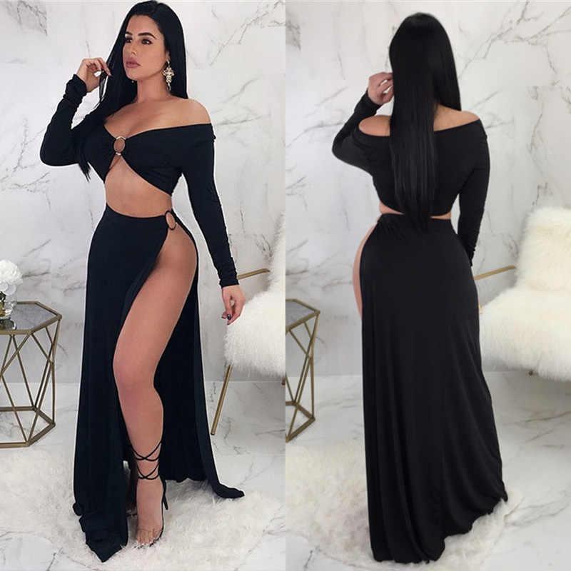 Seksi Kapalı Omuz Uzun Kollu Maxi Elbise Siyah Yüksek Bölünmüş Akşam Uzun Elbiseler Gece Kulübü Giyim Stella Iki Parçalı Elbiseler Vestidos