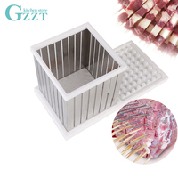 GZZT BBQ 64 Holes Kebab Maker Box Stainless Steel Rapid Wear Meat Brochettes Skewer Machine Easy Barbecue Skewers Make BBQ Tool