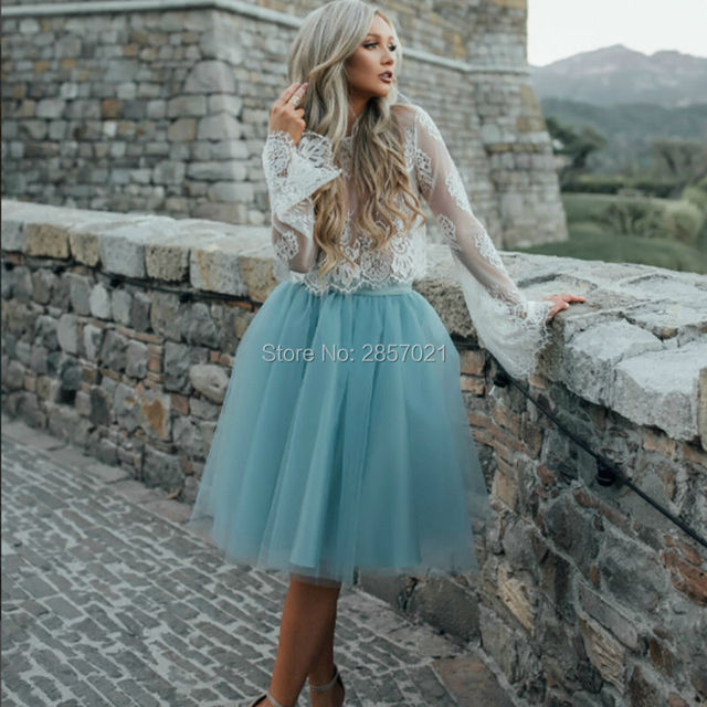 Nice Short 2 Piece Prom Dresses Knee length White Lace Wrap Blue ...