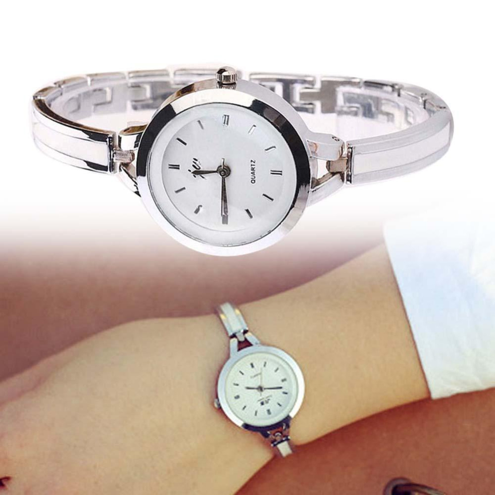 Beautiful Female Elegan Bracelet Silver Watch Stainless Steel Analog Quartz Thin Band Women Ladies Round Dial Dress Watch popular women watch analog with diamonds style round dial steel watch band