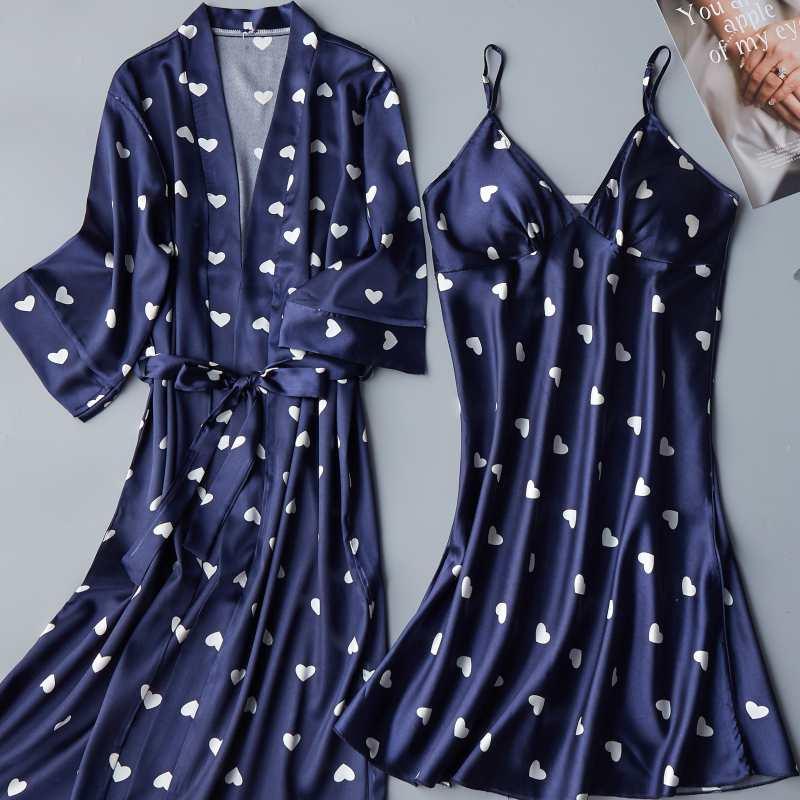 2PCS Set Sexy Night Dress For Women Deep Sleepwear Lingerie Silk Nightgown Sleeveless Nightdress Nightwear Summer Homewear