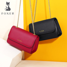 FOXER 2019 Leather Messenger Bags Simple Small Women Bag  Sexy Lady Small Flap Bags Female Chic Elegant Crossbody Bag for Women