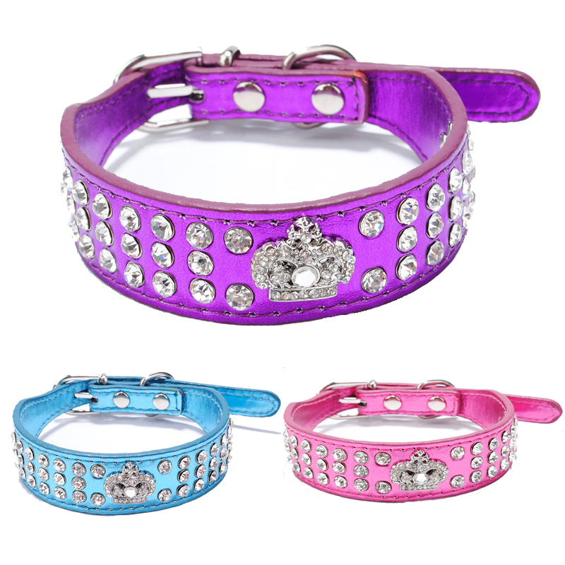 Bling Leather crown dog collar 2017 New Products Puppy Dog 3 Rows Crystal Rhinestone Royal Crown Collars for Dogs Puppy Pet XS S