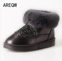 AREEQW Winter Snow Boots Women Classic Short Boots Warm Suede Bling Sequined Cloth Cotton Shoes Christmas