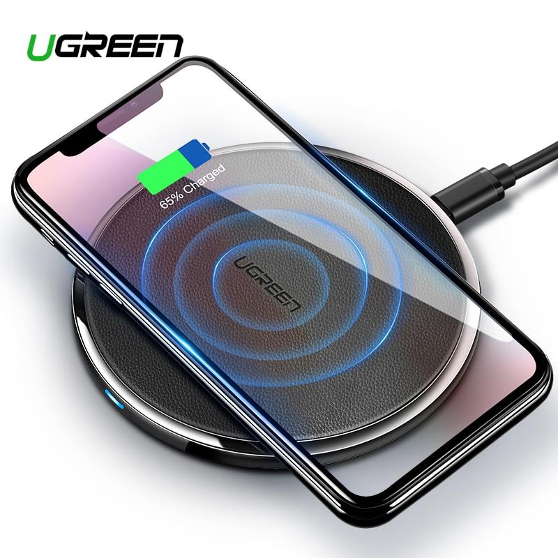 Ugreen 10 W Qi cargador inalámbrico para Samsung S8/S8 +/S7 EDG carga inalámbrica rápida para iPhone 8/X Nexus5 Lumia 820 cargador USB pad