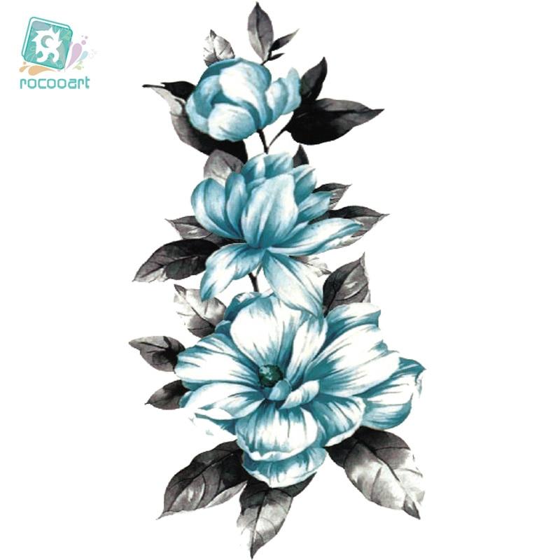 ffaf095235032d Rocooart QC692 Długie Kolorowe HD Sexy Body Art Czerwony Biały Niebieski  Kwiaty Okręgu Projektu Tymczasowe Fałszywy Tatoo Naklejki Taty Tatuaż