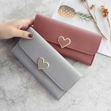 New Cute PU Leather Purse Heart-shaped Decoration Long Multi-card Wallet Purse Buckle Clutch Mobile Phone Student Women's Wallet cute dolphin style mobile phone wallet bag decoration deep pink white