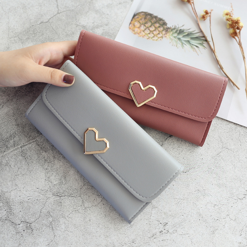 New Cute PU Leather Purse Heart-shaped Decoration Long Multi-card Wallet Purse Buckle Clutch Mobile Phone Student Women's Wallet