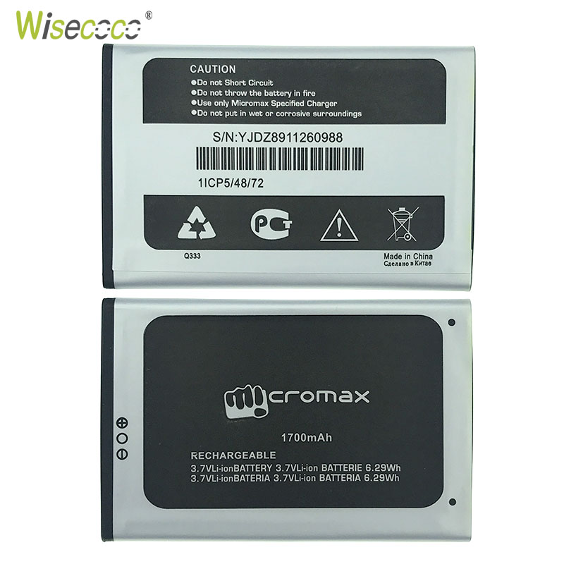 Wisecoco In Stock NEW 100% Q333 Battery For Micromax Q333 Q 333 Mobile Phone + Tracking Number