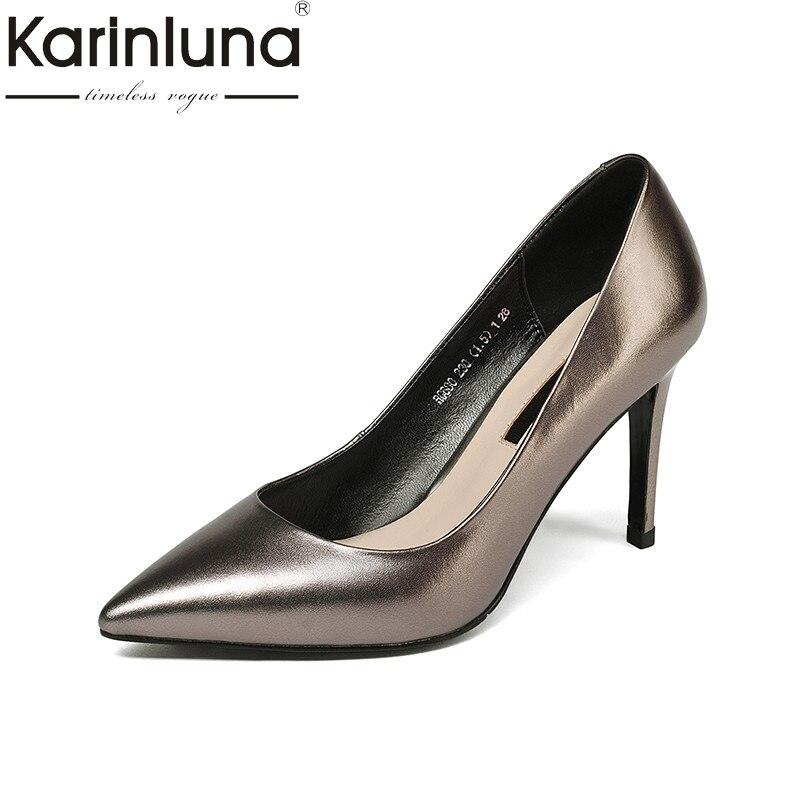 KarinLuna 2018 Spring Autumn New Arrival Metal Cow Leather Women Pumps Hot Sale Ol Shoes Woman Shallow Lady Work Shoes karinluna 2018 spring autumn hot sale