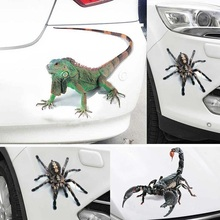 3D Car Sticker Simulation Animals Bumper Retrofit Stickers for Spider Gecko Scorpions Car Styling Accessories
