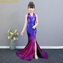 ec86ae759a Gradient cekiny błyszczące formalne nastoletnie dziewczyny sukienka na  imprezę świąteczne wydajność syrenka suknia wieczorowa pokaż Model