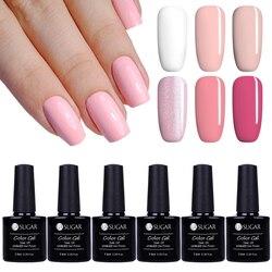 UR SUGAR 6Pcs/Lot Pink Color Series Nail Gel Polish Set Soak Off UV Gel Semi Permanent Varnish Lacquer Kits French Salon UV Gel