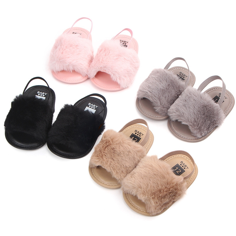 New Born Baby Sandals Fashion Faux Fur Toddler Summer Shoes Cute Plush Slide Sandal Infant Slippers Princess Girls Loafers Flats