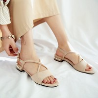 Big Size 9 10 11 12 summer flat sandals ladies women shoes woman ne belt buckle pearl cross band