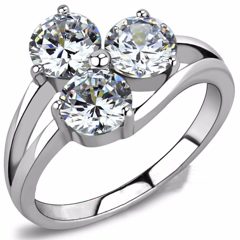 Size 4-12 Stainless Steel Three Stone Wedding Engagement Ring Statement Anniversary Propose Promise Bridal Mothers Day Gift