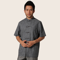 Gray Traditional Chinese Male Martial Arts Shirt Men Cotton Linen Kung Fu Tops Mandarin Collar Size