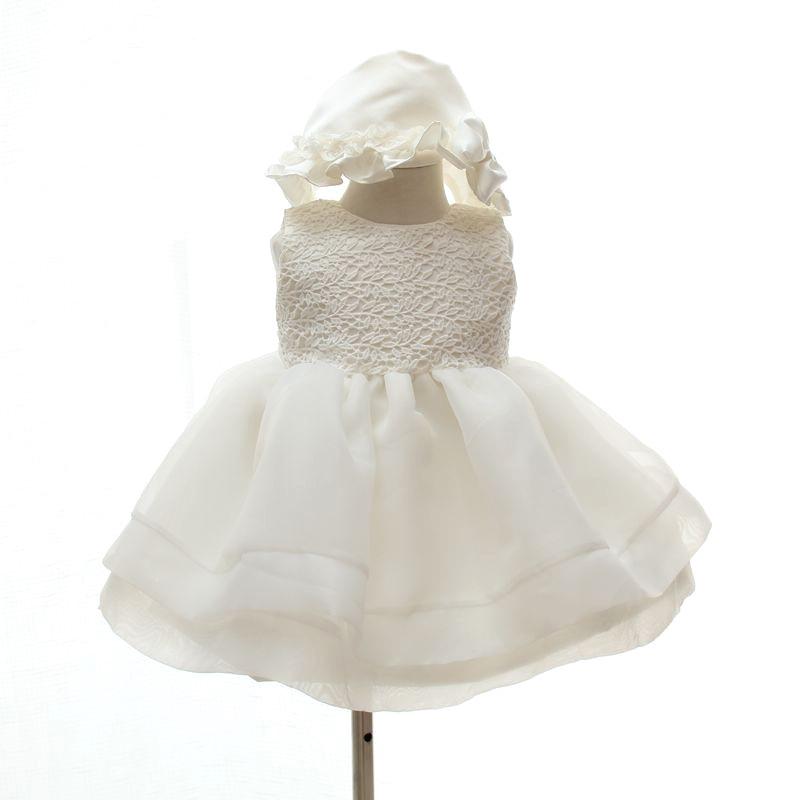 BBWOWLIN Elfenben Baby Flicka Dösklänning med Hatt Bröllop 1 År - Babykläder
