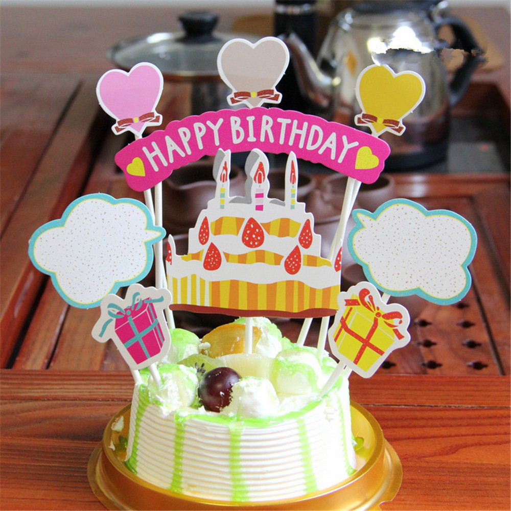 CRLEY Wholesale Happy Birthday Cake Topper With Car Boat Heart Kids Boy Girl 1st Party Baby Shower Decoration In Decorating Supplies