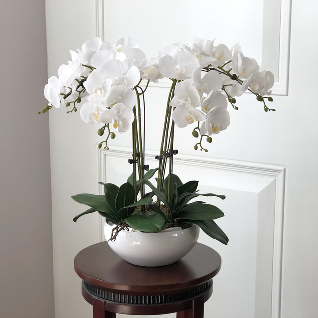 1 Set di Alta Qualità Orchidee Disposizione In Lattice Del Silicone Reale di Tocco di Lusso Grande Formato Da Tavolo Fiore Casa Albergo Decor No Vaso