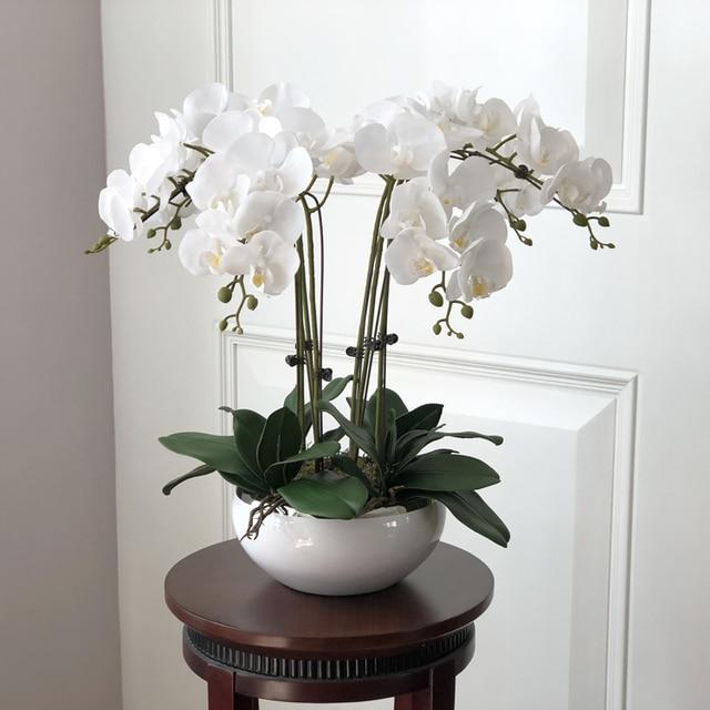 1 Set Orchids Real Touch Flower With Leaves Artificial Arrangement Diy Arrange No Vase