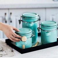 Nordic Colorful Ceramic Seal Storage Jar Scandinavian Kitchen Candy Coffee Tea Organizer Sealing Jars Seasoning Container