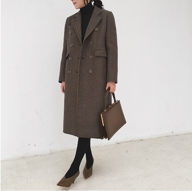 Vintage Plaid Autumn Winter Coats Women's Long Wool Coats Formal England Style