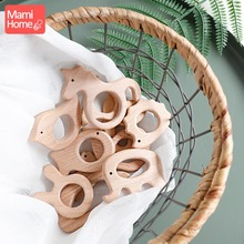 1pc Wooden Teether Wood Pendant For Pacifier Chain Teething Toys Animal Blank Rodent Baby Teethers Birth Nurse Gifts