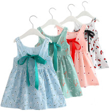 Summer girl cotton dress children sleeveless cherry dresses print dress children for girls fashion girls clothes neat summer girl dress fashion dresses for girls 100