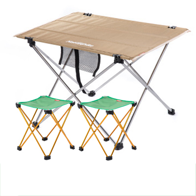 ФОТО NH15D012-M  Combination packages Khaki small table 2 upgrade green folding chair Outdoor table Fishing leisure chairs