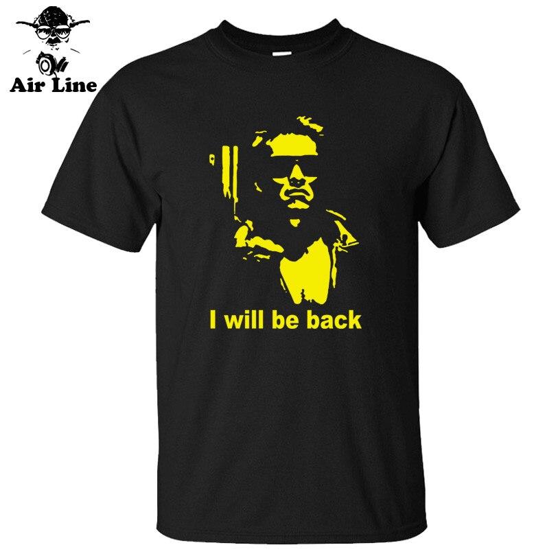 New Summer The Terminator Arnold Schwarzenegger I will be back   T  -  shirt   Men Cotton Printed Short-sleeve   T     shirt