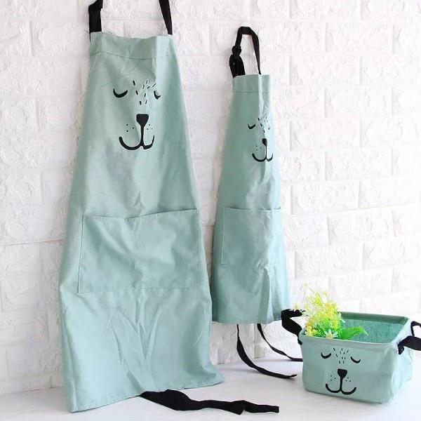 2 stk / sæt Creative Home Simple Style 100% Bomuld Forældre Børne Forklæder Cute Animal Expression Kawaii Overalls Baking Anti Foulin