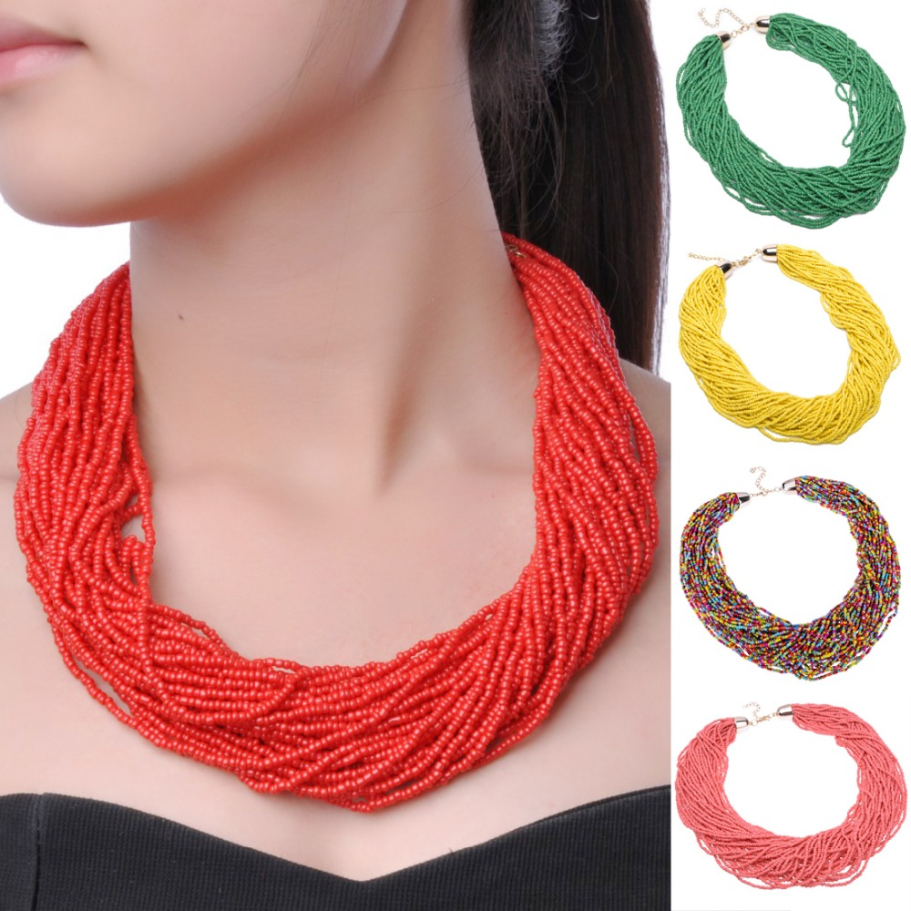 Twist 16 Creative Pure Colors 40 Layers Chain Style Bib Pendant Necklace Plastic Handmade Beaded Necklaces Party Beads Jewelry