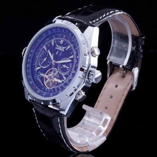 Top Winner Tourbillon Designer Men s Automatic Mechanical Wrist Watch Genuine Leather Strap Quality Blue Glass