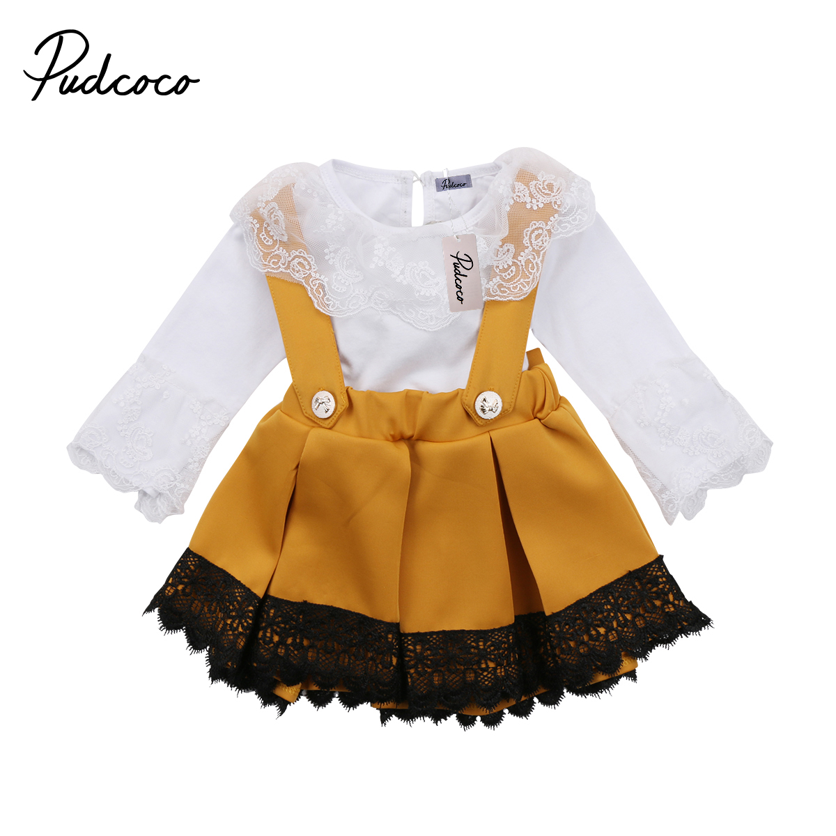 2018 Brand New Newborn Toddler Infant Kid Baby Girl Lace Jumpsuit Romper Princess Party Skirt 2Pc Outfit Set Long Sleeve Clothes baby rompers newborn infant clothing 2016 brand baby boy girl long sleeve one piece romper bamboo leaves toddler jumpsuit