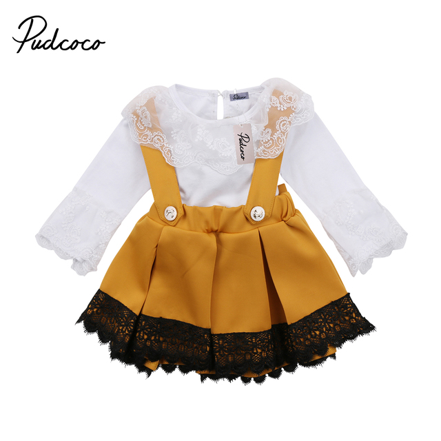 0fa6fa904ce5 2018 Brand New Newborn Toddler Infant Kid Baby Girl Lace Jumpsuit Romper  Princess Party Skirt 2Pc Outfit Set Long Sleeve Clothes