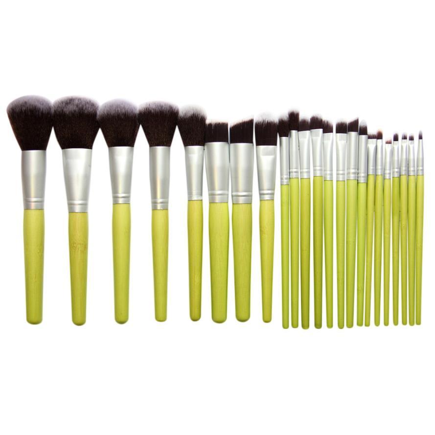 23PCS Makeup Brush Set Bamboo Makeup Brushes Kit Professional Make Up Brushes New Ja27