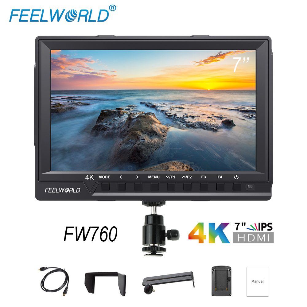 FEELWORLD FW760 7 Inch Camera Field Monitor 4K HDMI DSLR Video assist Full HD 1920x1200 IPS Screen 1200:1 High Contrast Display feelworld f7s 7 inch sdi 4k hdmi on camera dslr field monitor full hd 1920x1200 aluminum housing small lcd ips external display