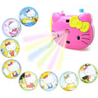 1pcs Cute Hello Kitty Light Projection Camera Children Educational Toys For Kids Projection Cartoon Pattern Camera Children Gift